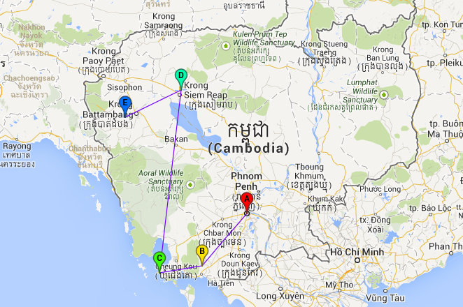 Backpacken: Route Cambodja