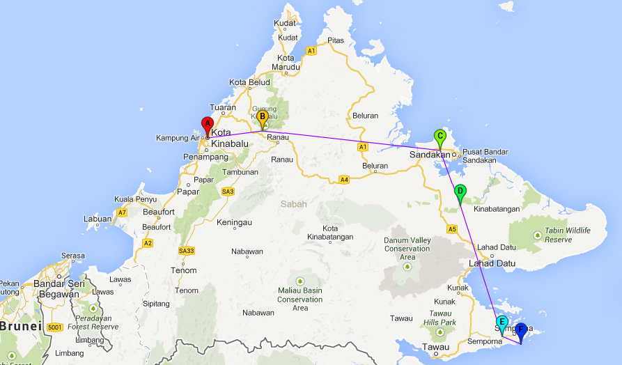Backpacken Borneo: Route