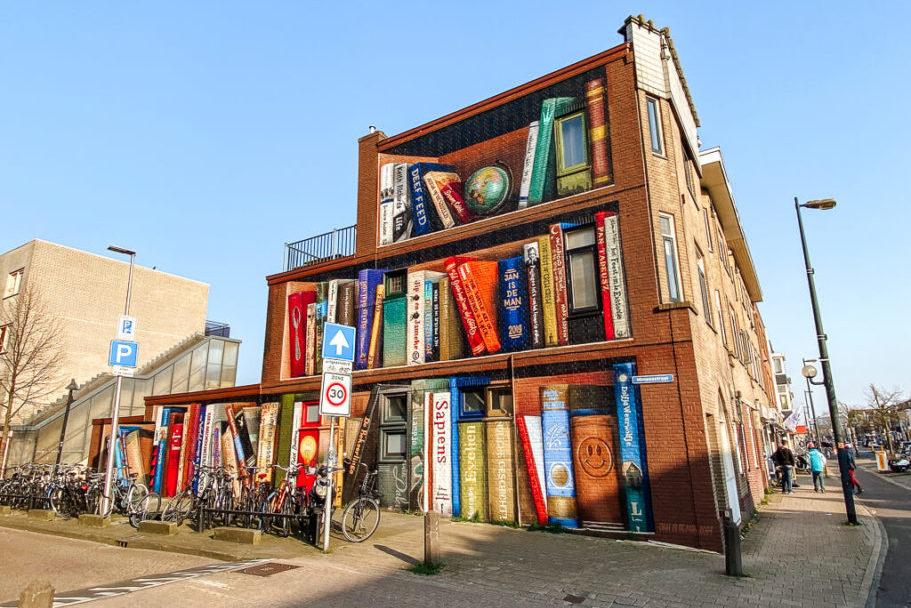 boekenkast muurschildering utrecht street art