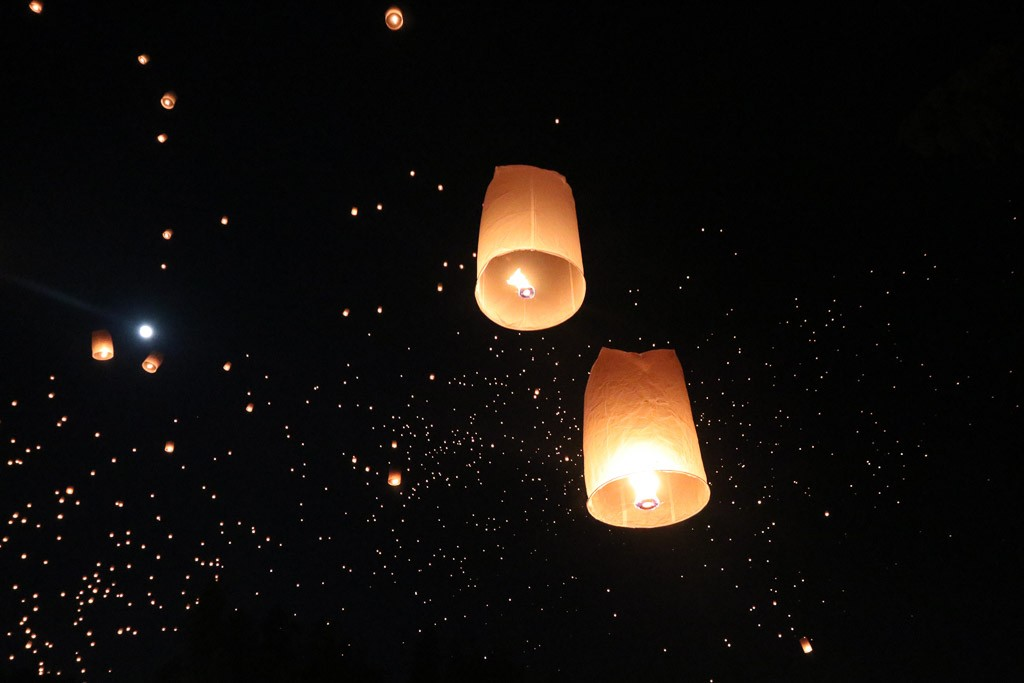 wensballon feestdag thailand loy krathong